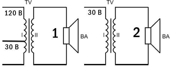 Рис. 5. Схемы электрические принципиальные абонентских громкоговорителей.  Где: Х- вилка; R- резистор; ВА...
